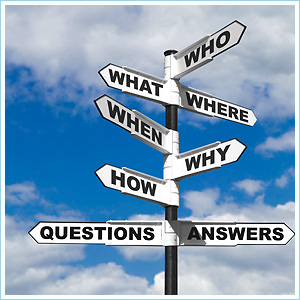 Bewegwijzeringspaal naar Who, What, Where, When, Why, How, Questions en Answers